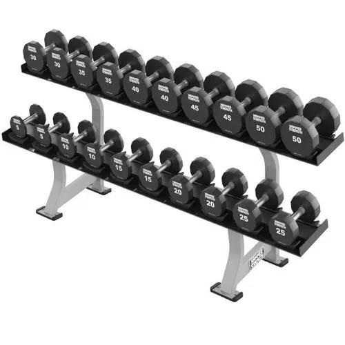 lifefitness fw dr2 155 lb hammer strength two tier dumbbell rack
