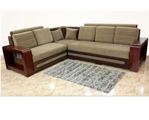 Dark And Light Brown Wooden Frame Corner Sofa, Rs 40000