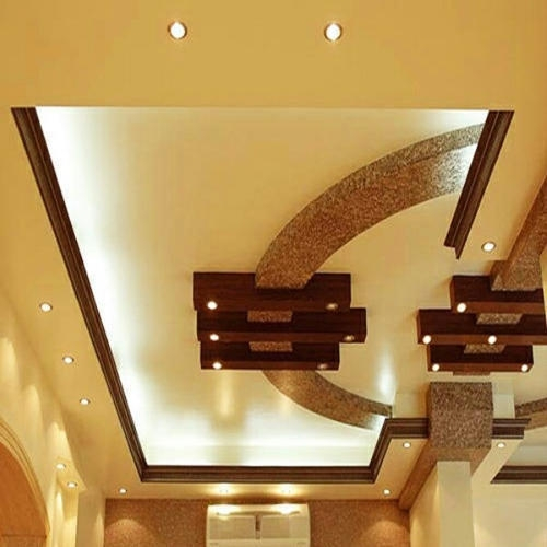 Pop False Ceiling Rs 100 Square Feet Cygnus Infrastructure   False Ceiling On Stairs   Angled   Low Budget   Tv Lounge Ceiling   Residential   Simple
