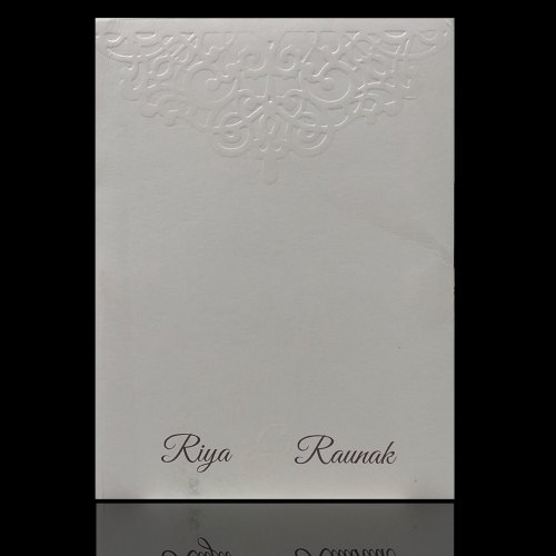 invitation card kpr01060 dashing white shading with laser cut design wedding card