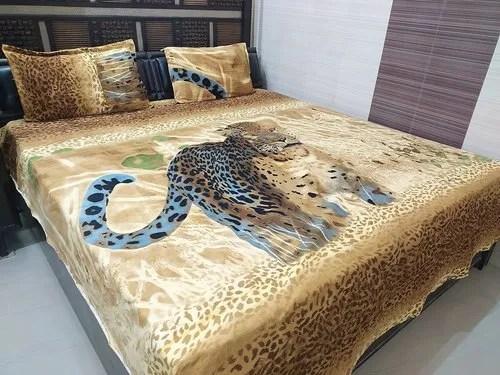 winter warm velvet queen size double bedsheet with 2 pillow covers golden colour