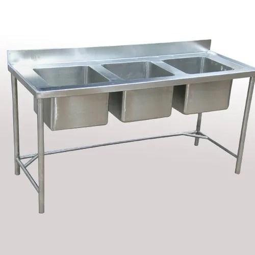 stainless steel triple bowl sink table