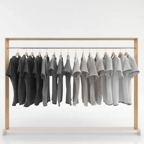 wooden garment rack