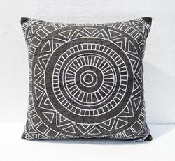 charcoal colour embroidery aztec pattern pillow cover