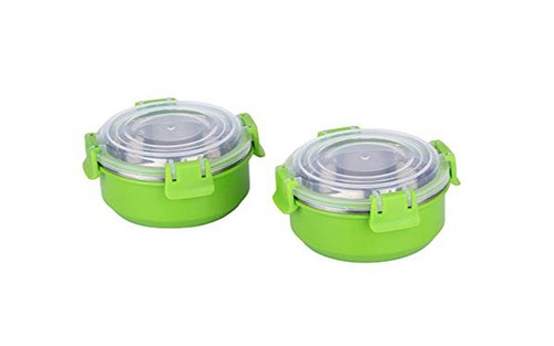 microwave safe stainless steel with plastic coated lock seal container