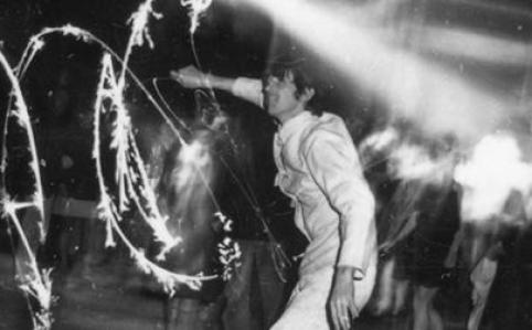 Man with sparkler on opening night 1966