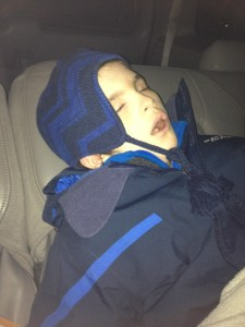 It's Dark, below zero, and very early in the am... He didn't have any idea where he was... snored right on through it... :-)