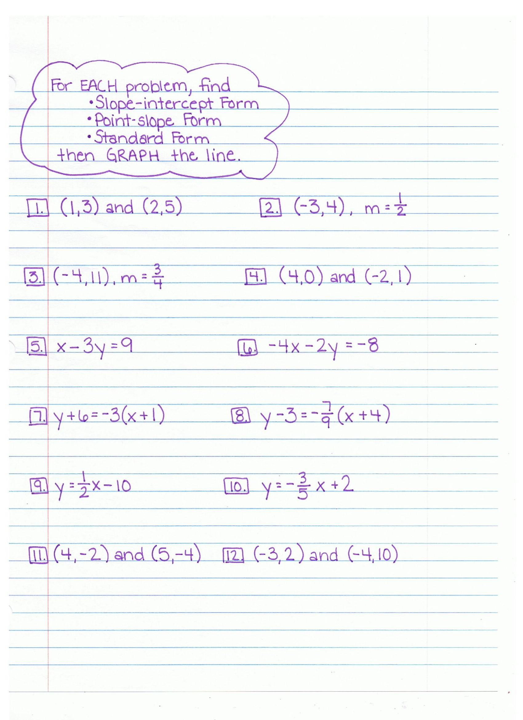 Lesson 4 Homework Practice Slope Intercept Form Answer Key