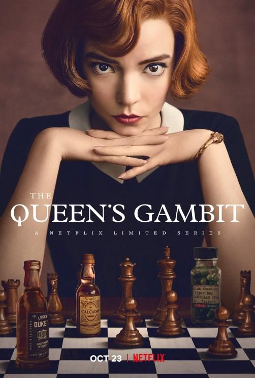 Plakat miniserialu Gambit królowej (2020) dostępnego na Netflixie