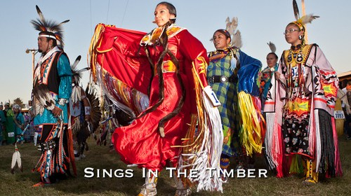 Woman in red regalia by Sings in the Timber