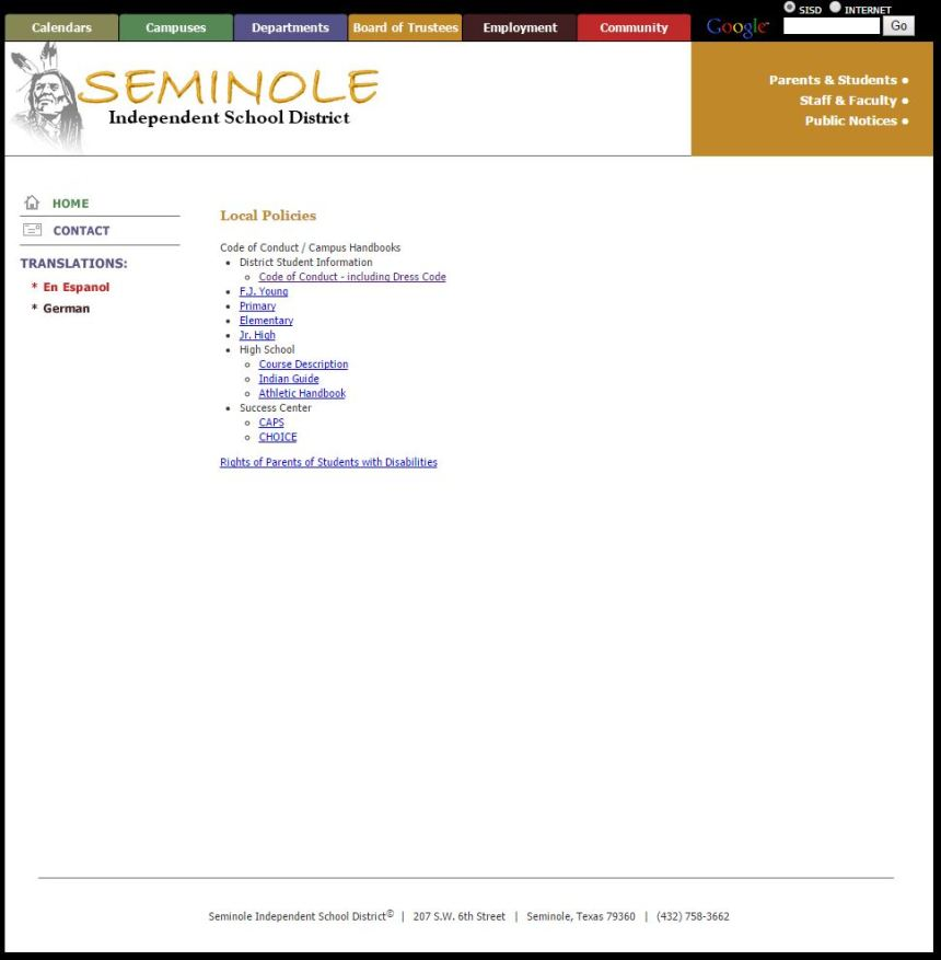 Seminole Independent School District website showing long hair on a man.