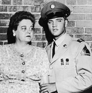 Elvis Presley in uniform, with his mother Gladys