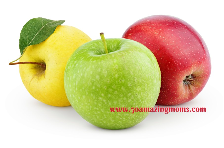 Yellow, green and red apples isolated on white
