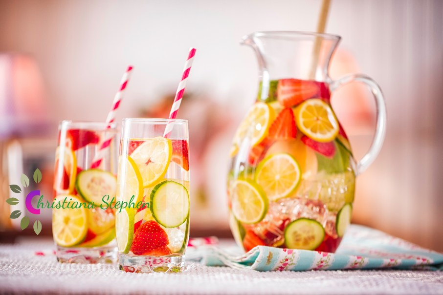 Infused Water with Fresh Strawberries, Lime, Lemon and Basil