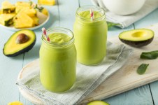 Healthy Homemade Avocado Smoothie with Spinach Pineapple and Yogurt