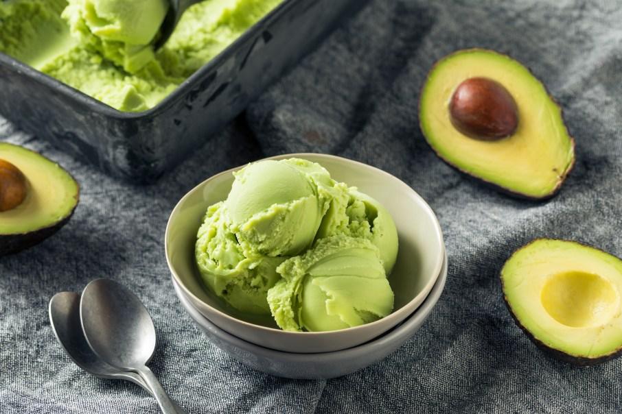 Homemade Green Organic Avocado Ice Cream