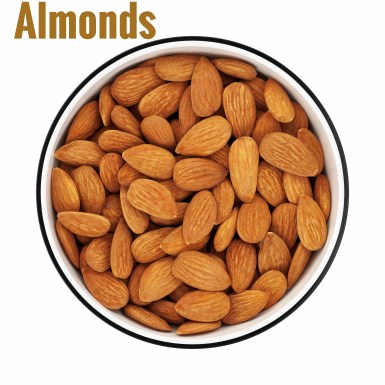 """Shelled almonds in a circle bowl on white background, shot from directly above. Clipping path included.Almond pictures:"""