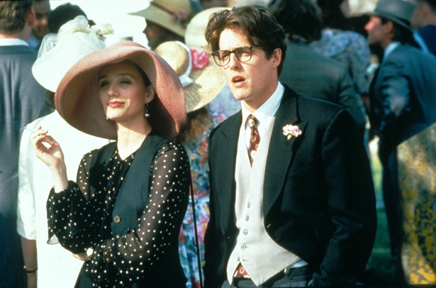 Fiona (Kristin Scott Thomas) in a Patricia Underwood hat, with Charles (Hugh Grant) in Four Weddings and a Funeral
