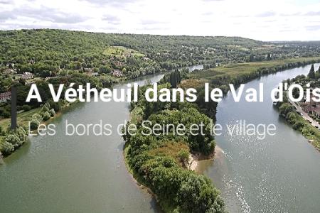 A Vétheuil dans le Val d'Oise les bords de seine et le village