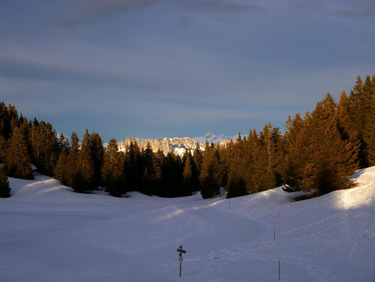 Au col du Semnoz au dessus d'Annecy pour le lundi soleil février