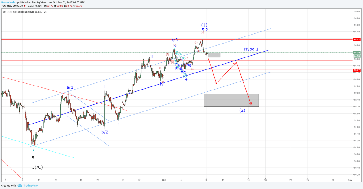 Dollar Index Hourly Chart Elliott Wave Analysis
