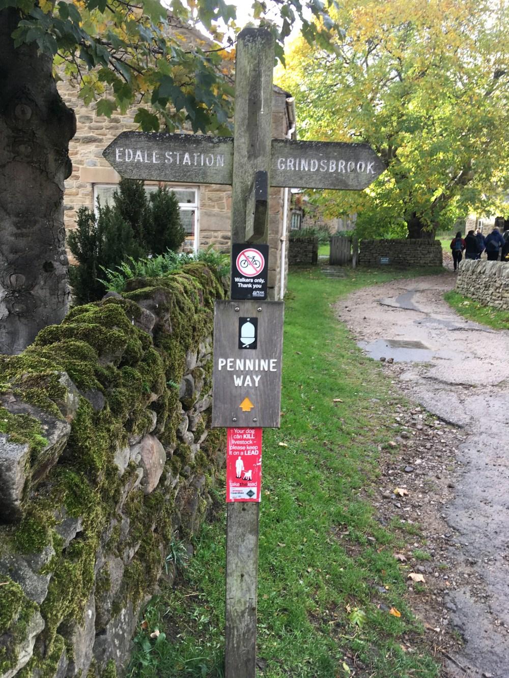 Pennine Way signpost Edale, LEJoG Day 39