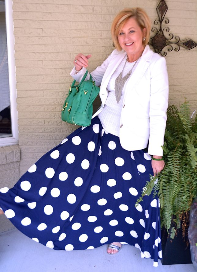 50 IS NOT OLD | MAXI SKIRT WITH POLKA DOTS
