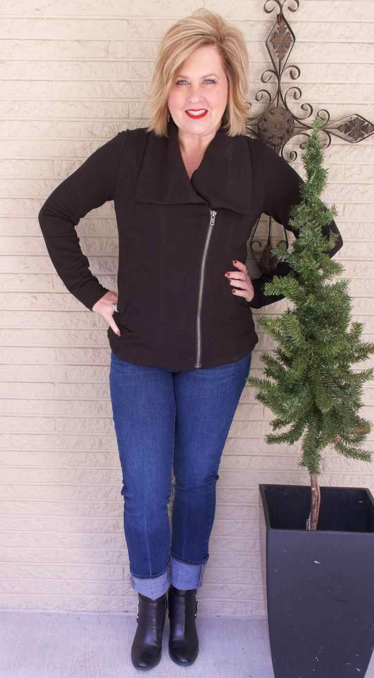 50 IS NOT OLD | MOTO JACKET AND LEATHER BOOTS | FASHION OVER 40