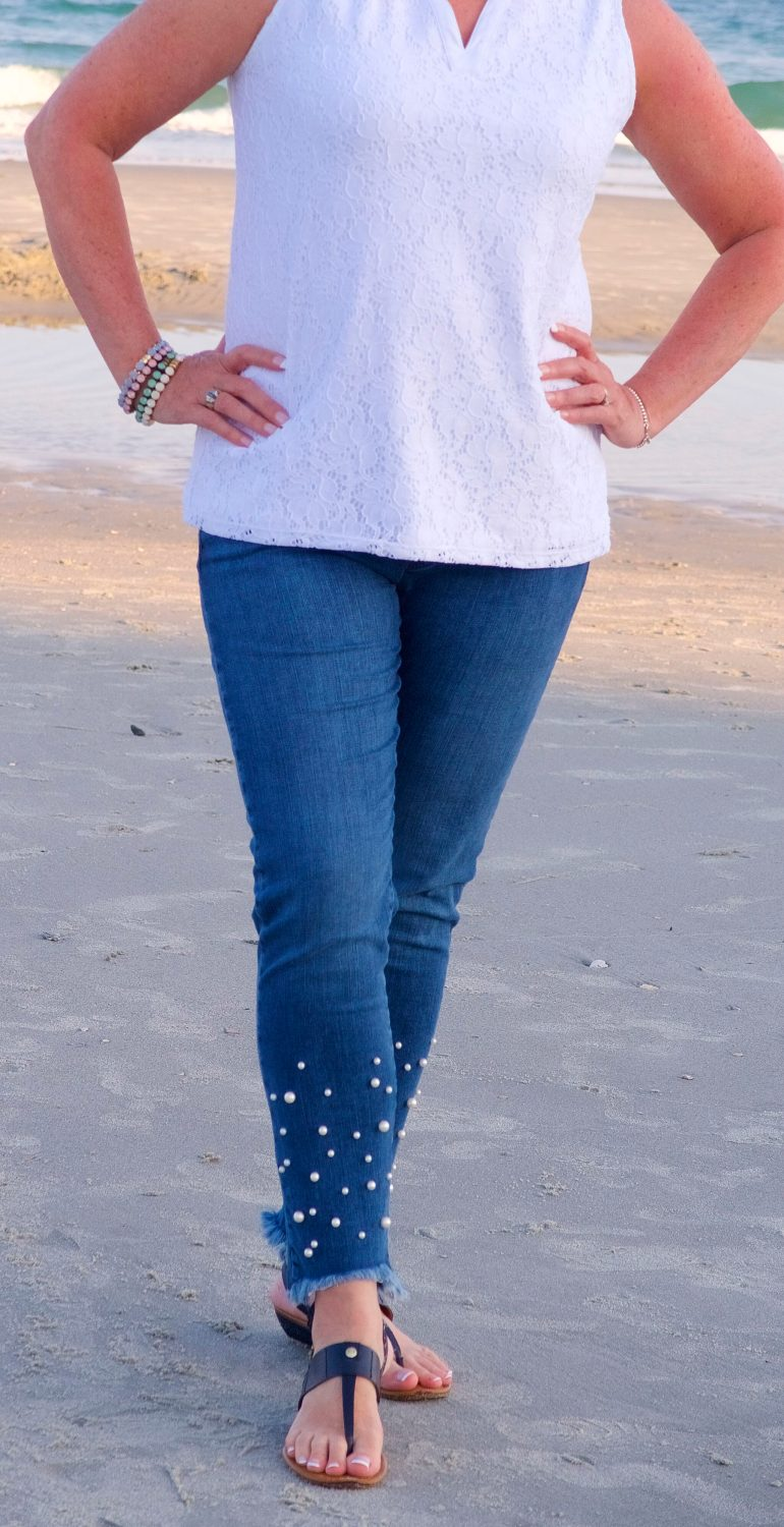 50 IS NOT OLD | PEARL EMBELLISHED JEANS | FASHION OVER 40
