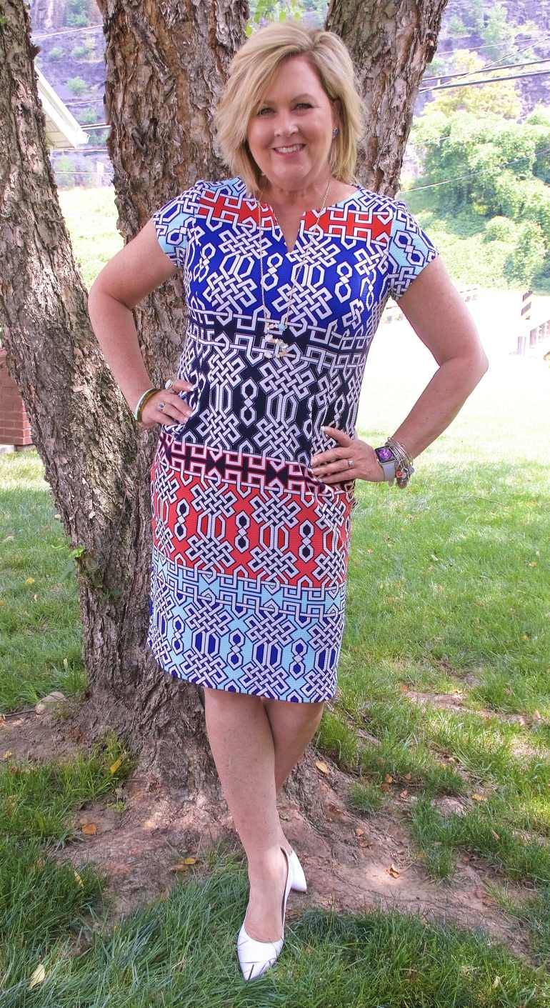50 IS NOT OLD | GEOMETRIC SHEATH DRESS | FASHION OVER 40