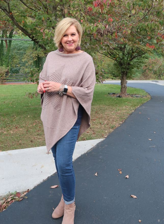 50 IS NOT OLD | HOW TO WEAR A PONCHO AND ANKLE BOOTS | FASHION OVER 40