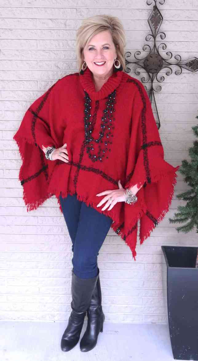 50 IS NOT OLD | BUFFALO PLAID STYLE PONCHO | FASHION OVER 40