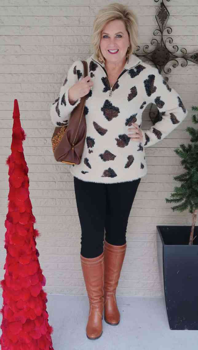 50 IS NOT OLD | A LARGE LEOPARD PRINT SWEATER | FASHION OVER 40