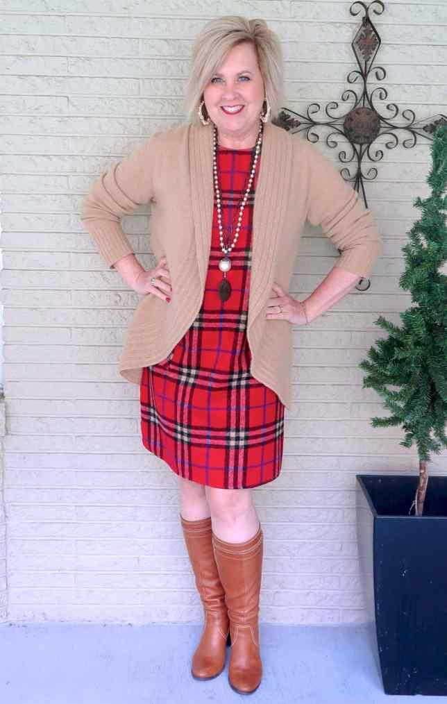 50 IS NOT OLD   WEARING A SHIFT DRESS WITH KNEE BOOTS   FASHION OVER 40
