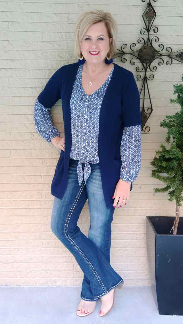 50 IS NOT OLD | A TIE FRONT TOP WITH JEANS | FASHION OVER 40