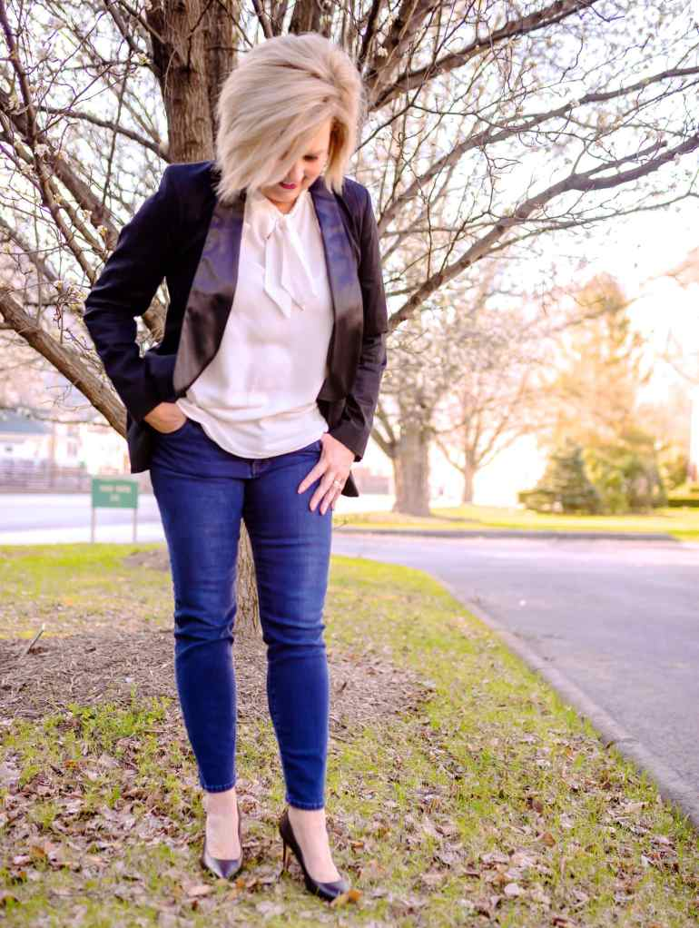 50 IS NOT OLD | TUXEDO BLAZER AND JEANS | FASHION OVER 40