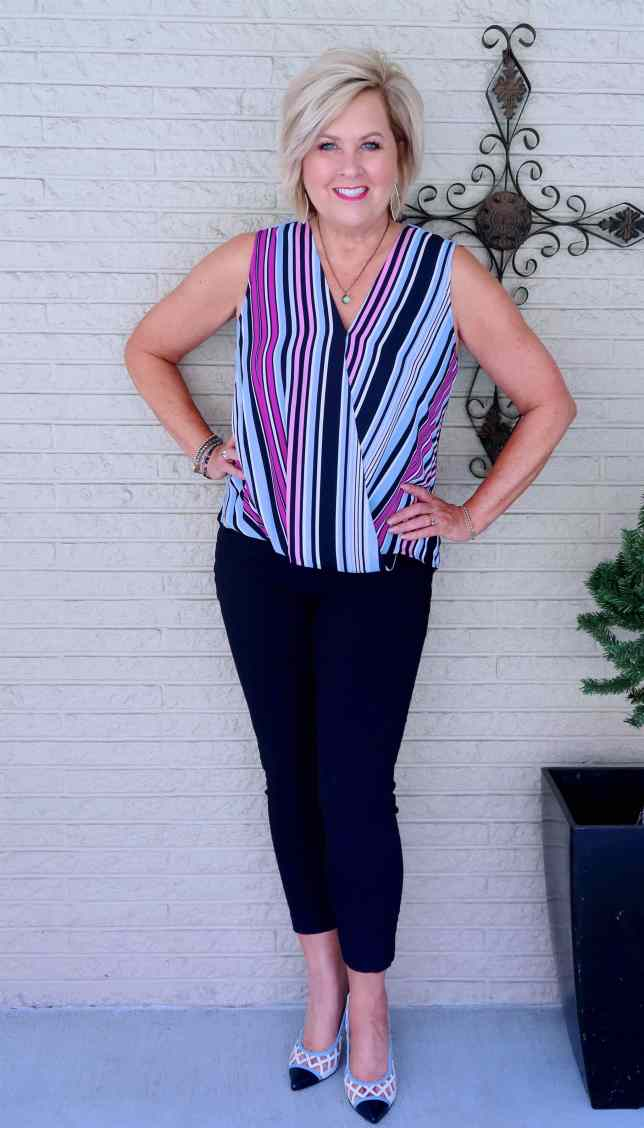 50 IS NOT OLD | FAUX WRAP TOP AND SKINNY PANTS | FASHION OVER 40