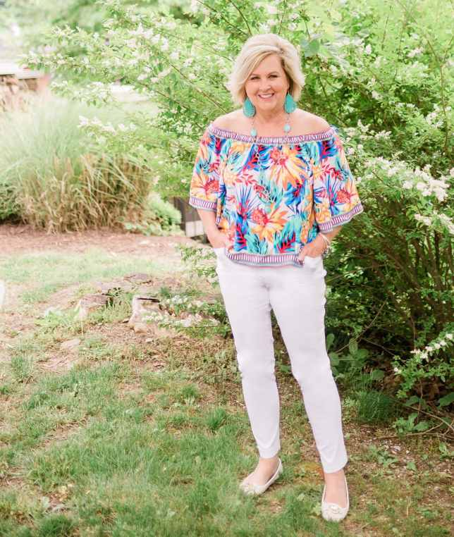 50 IS NOT OLD | STYLING A COLORFUL AND TROPICAL OFF THE SHOULDER TOP | FASHION OVER 40