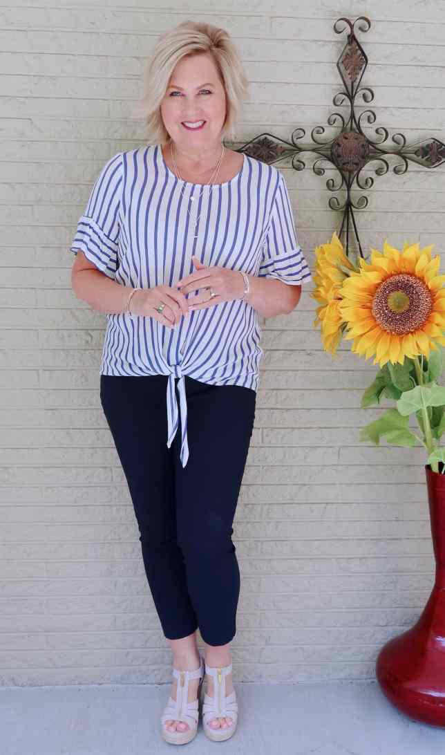 50 IS NOT OLD | SOLIDS AND STRIPES FOR A CLASSIC LOOK | FASHION OVER 40