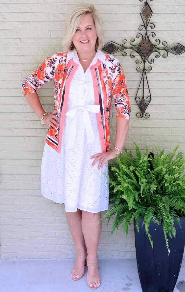 50 IS NOT OLD | A WHITE EYELET SHIRT DRESS AND A CARDIGAN | FASHION OVER 40