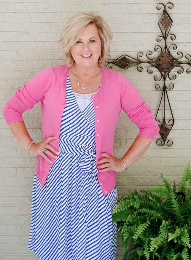 50 IS NOT OLD | STRIPED TIE WAIST DRESS FOR SUMMER | FASHION OVER 40