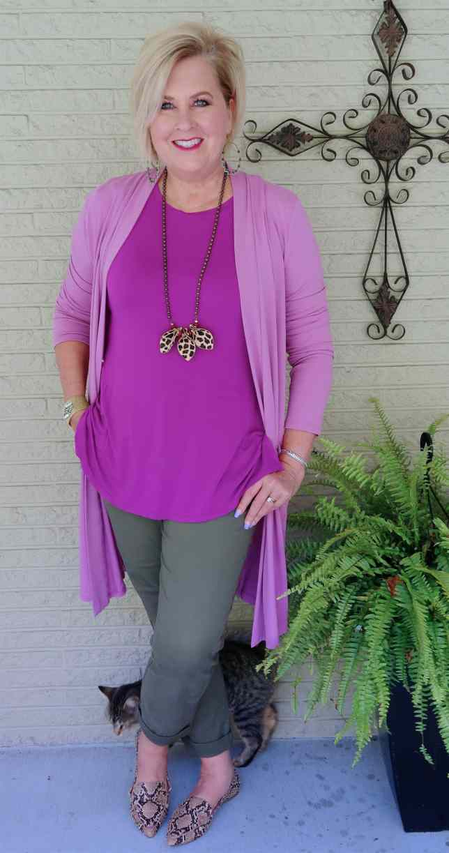 50 IS NOT OLD | WOULD YOU WEAR OLIVE AND PURPLE TOGETHER | FASHION OVER 40