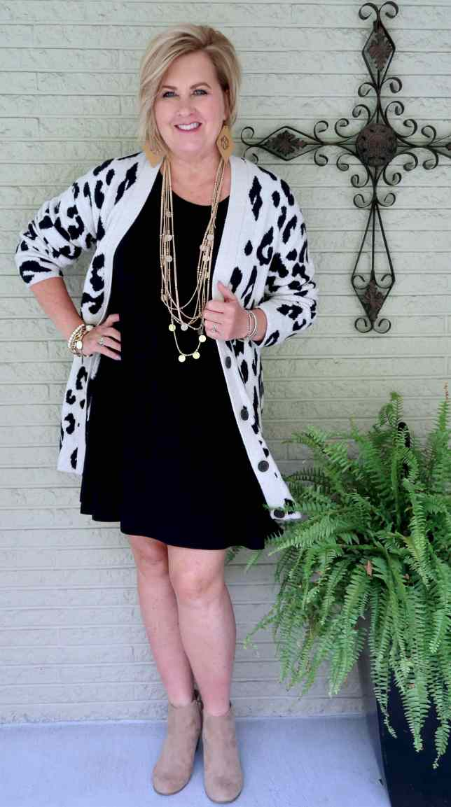 50 IS NOT OLD   HOW TO MAKE A SHORT SLEEVE DRESS WORK FOR FALL   FASHION OVER 40