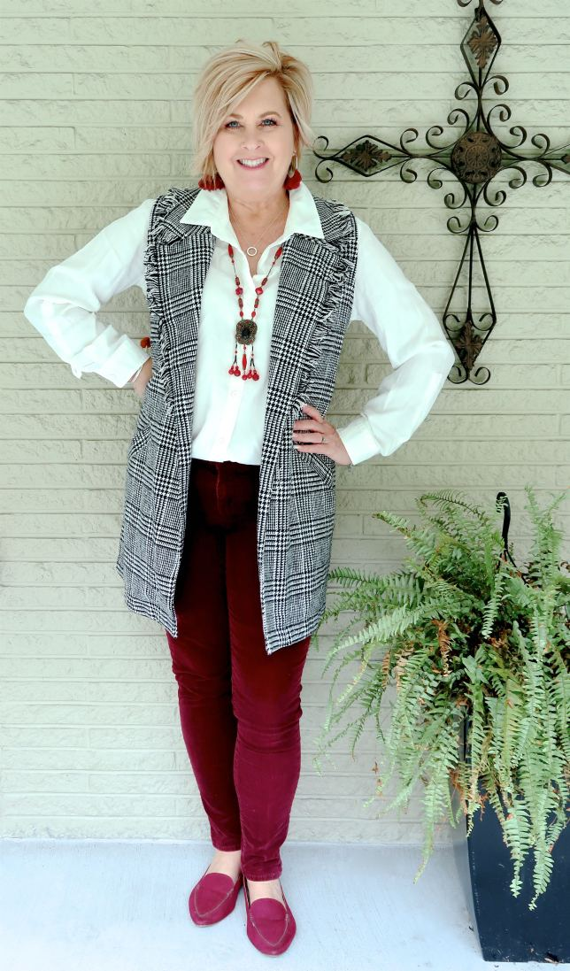 50 IS NOT OLD | HOW TO WEAR A HERRINGBONE PLAID VEST FOR FALL | FASHION OVER 40