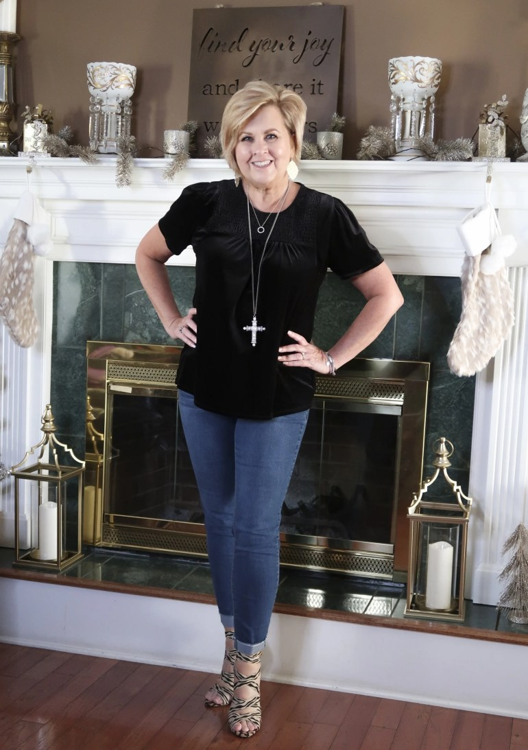 skinny jeans and heels for a stylish thanksgiving