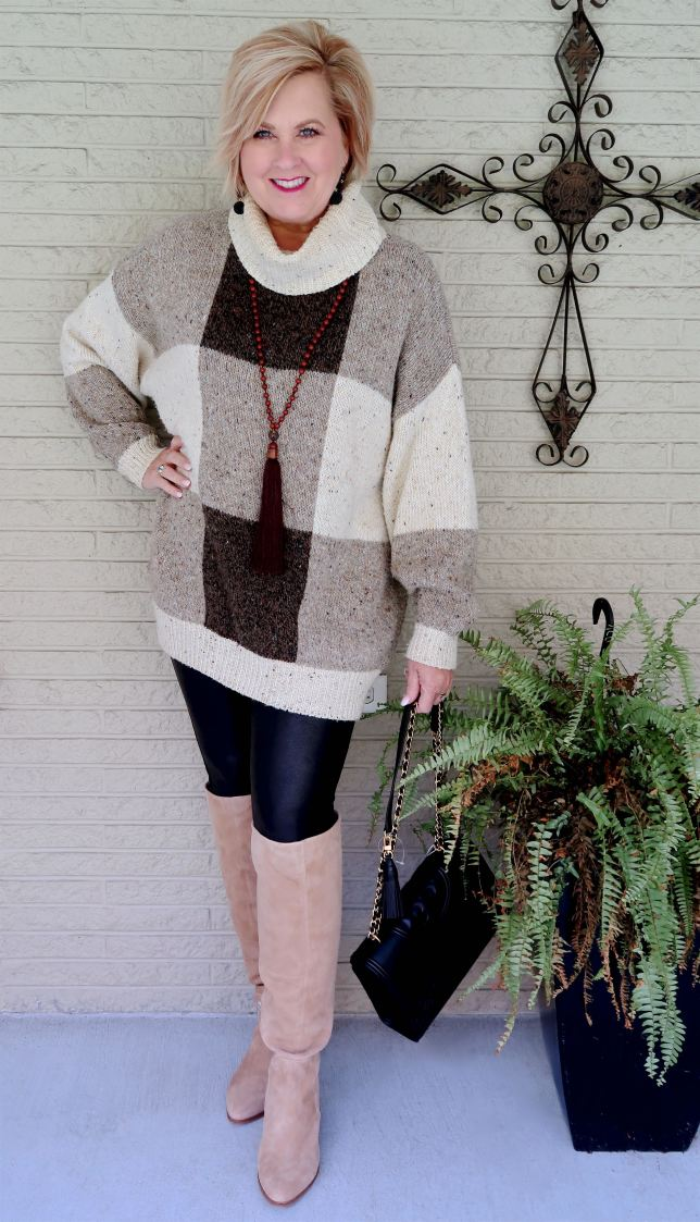 50 IS NOT OLD | HOW TO WEAR OVERSIZED SWEATERS WITH LEGGINGS | FASHION OVER 40