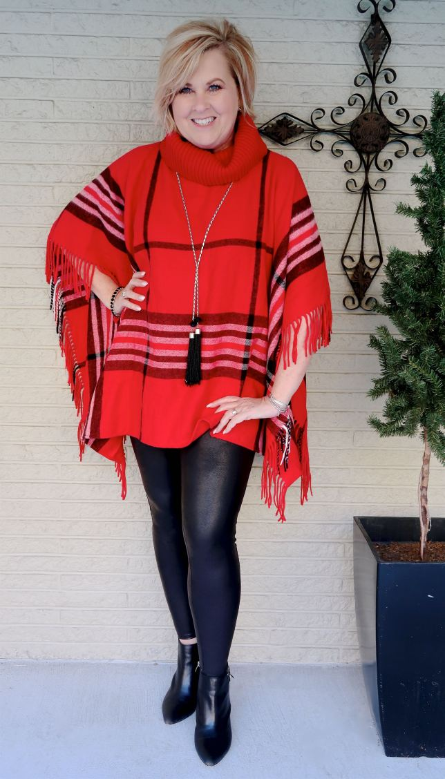 Red Christmas Poncho worn by Fashion Blogger 50 Is Not Old