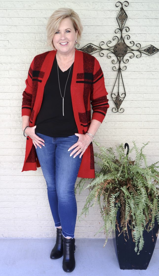 Buffalo Plaid Cardigan with jeans and boots