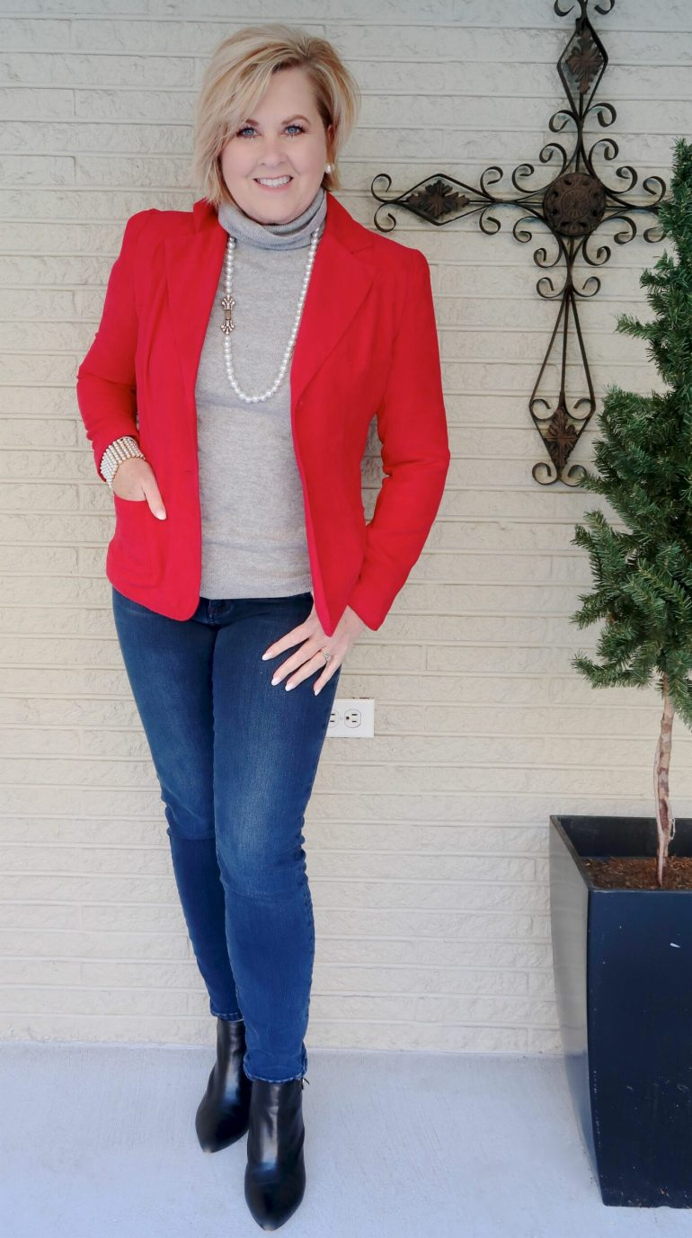 Red Blazer and Gray Cashmere