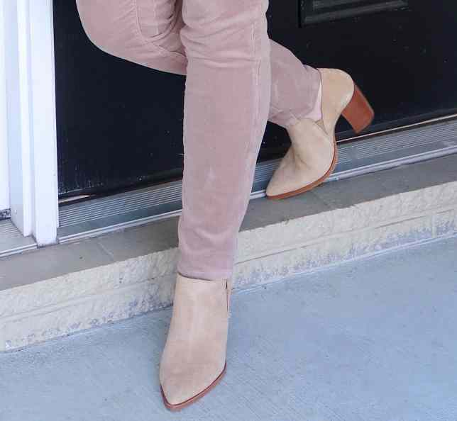 Fashion Blogger 50 Is Not Old styling a monochromatic look with a sand pant and pointed toe ankle boots